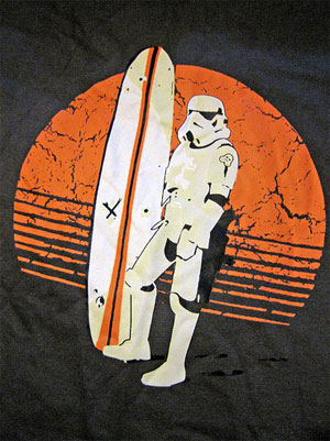 Star wars stormtrooper surfing