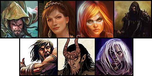 La party de izquierda a derecha: Arriba: Graneiros, Gwenn, Keira, Ignis. Abajo: Magnus, Nicodemo, Ryle