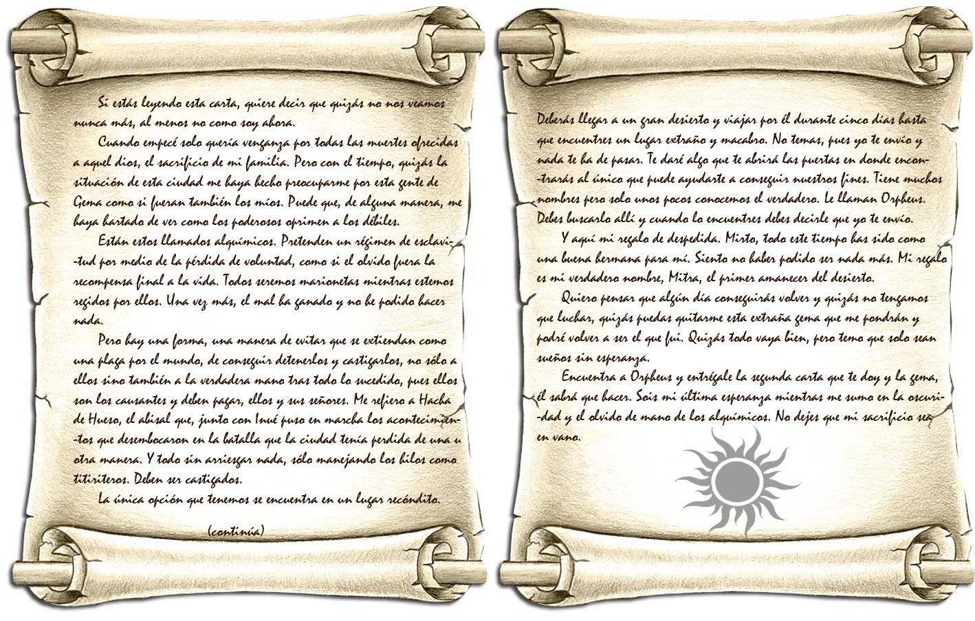 Carta de akuma en pergamino