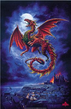 Dragon over village