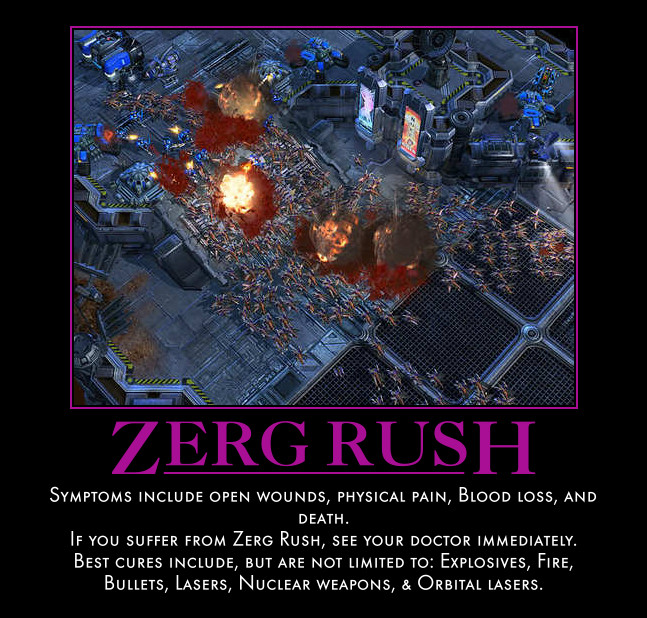 Zerg rush motivational poster by kolnukbyne