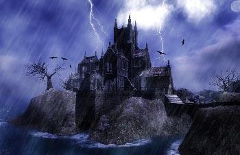 Thunderstorm over castle wallpaper 2k27x