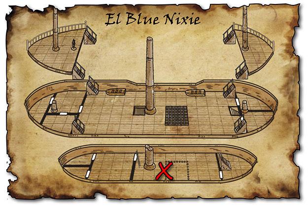 El combate contra los arácnidos toma lugar en la bodega del Blue Nixie