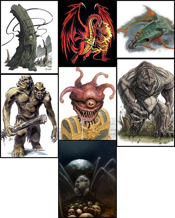 Roper, Red Dragon, Aboleth, Ettin, Spectator Beholderkin, Gray Render y Araña