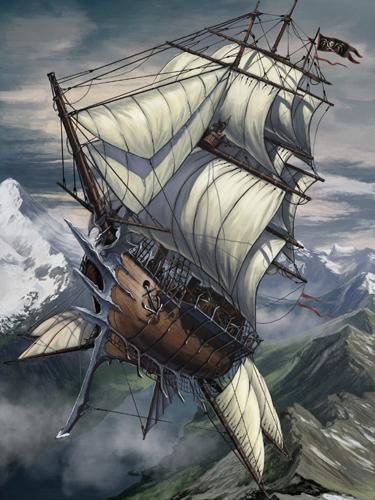 Rising sun skyship