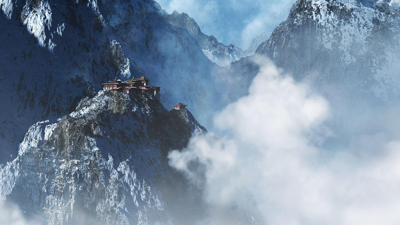 Mountain monastery by aksu