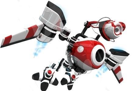 Clip art illustration of 3d webcrawler robot flying to next website