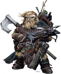 A victorious dwarven barbarian