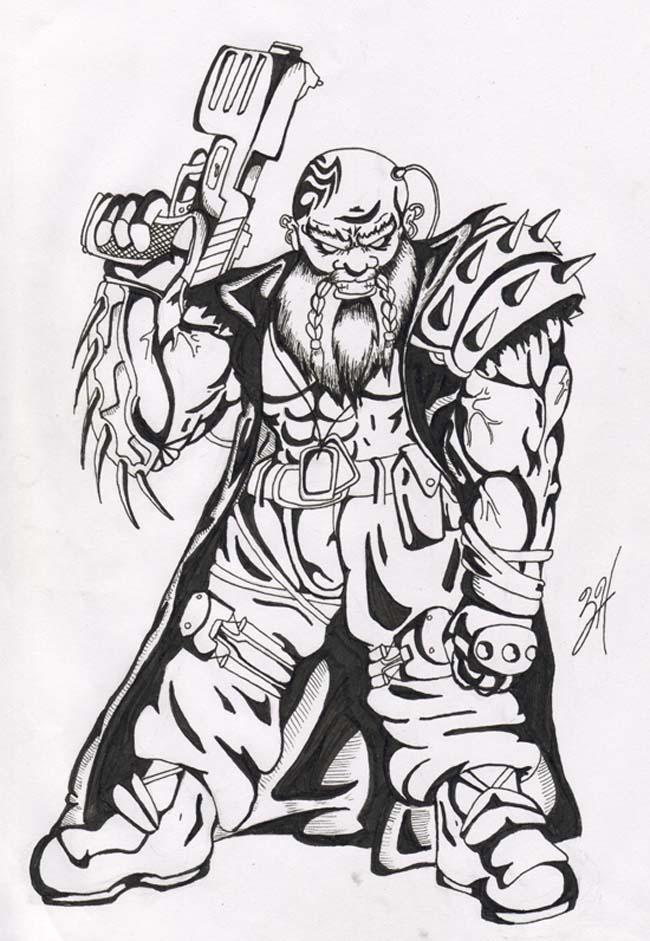 Shadowrun dwarf inked by eppy