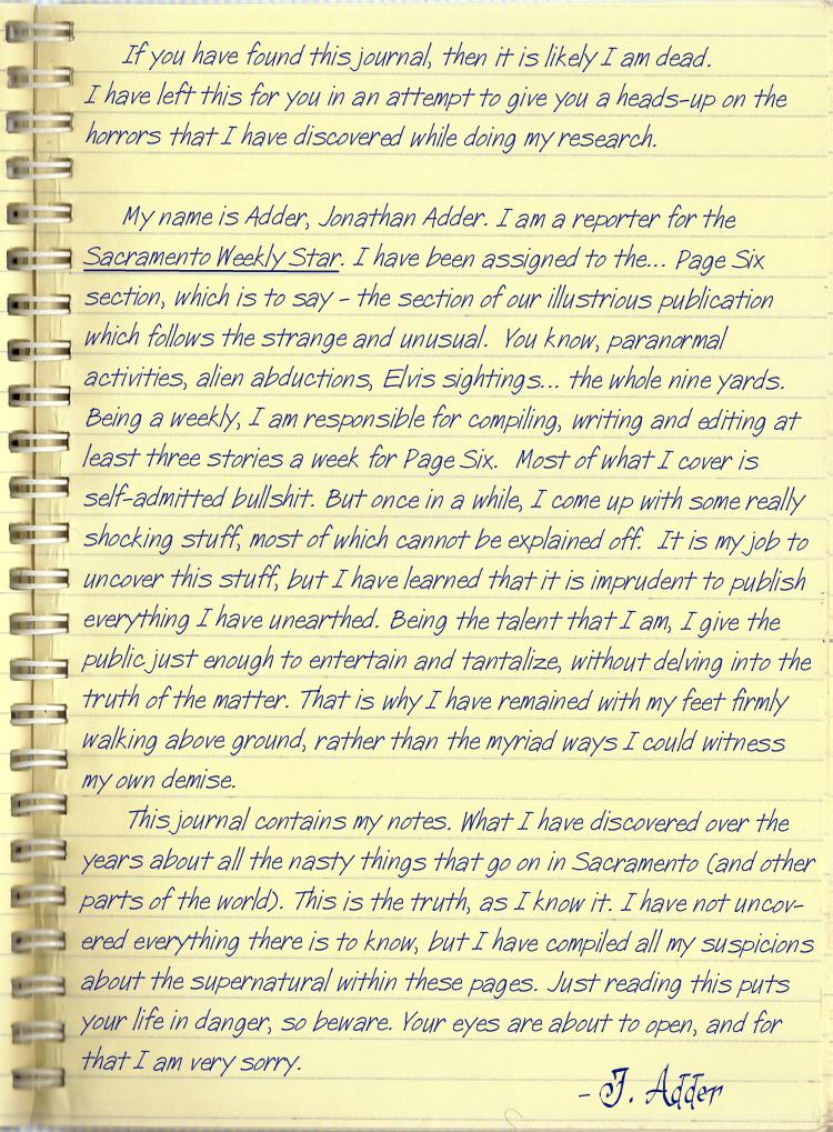 J. Adder Notebook Page 1