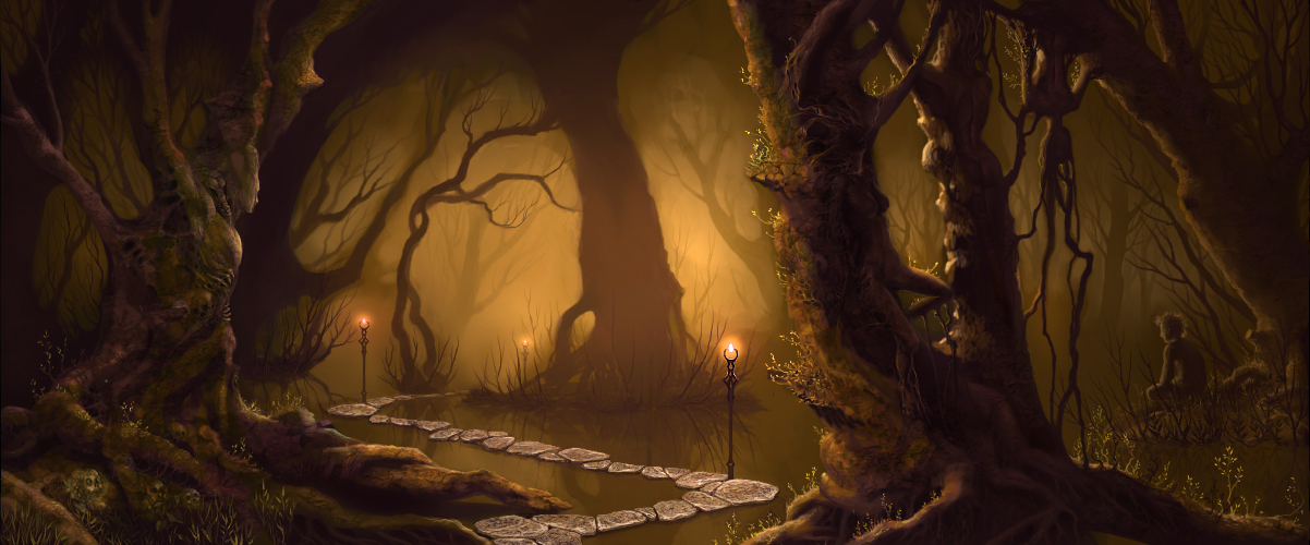 1202x500 4482 path 2d fantasy forest landscape magical picture image digital art