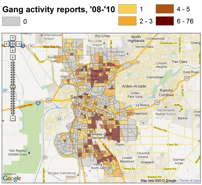 Sacramento gang activity map