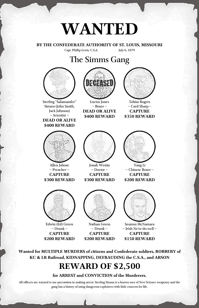 WANTED BY THE CONFEDERATE AUTHORITY OF ST. LOUIS, MISSOURI: THE SIMMS GANG - REWARD OF $2,500