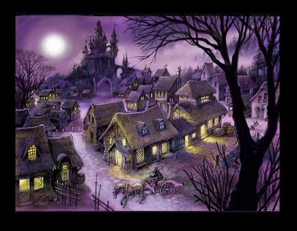 miasteczko nocą