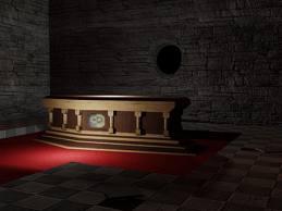 Desecrated vault sarcophagus
