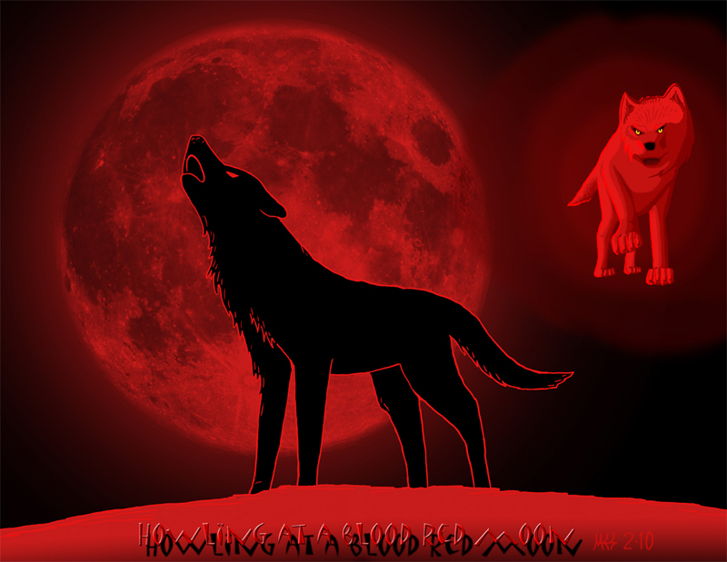Howling at a blood red moon by dragon wolf a ce