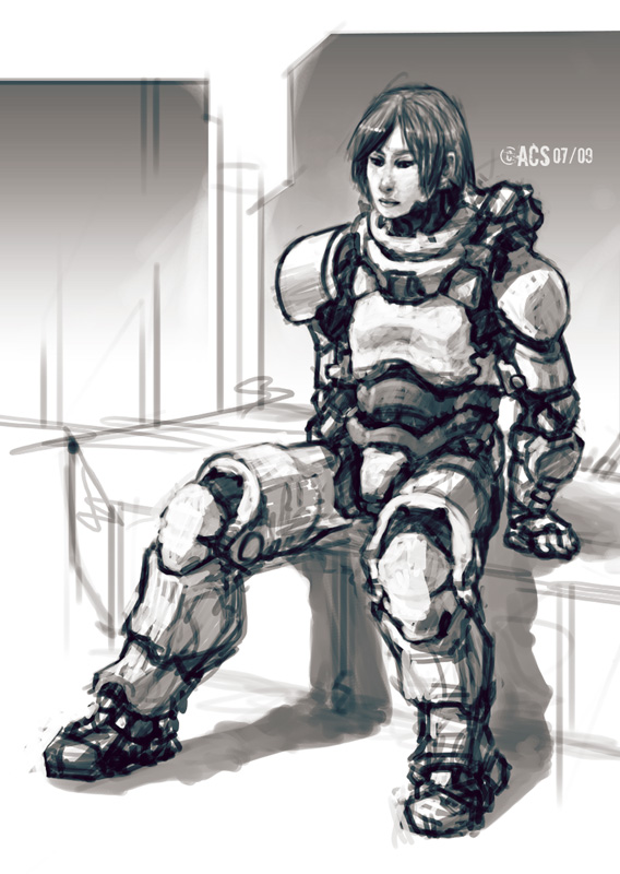Seated power armour