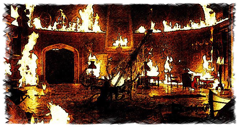 Burning waterfront mansion