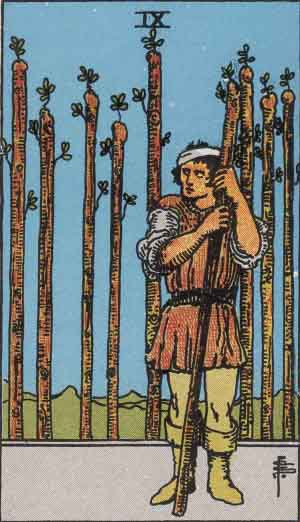 Nine of wands, Rider Waite tarot>