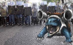 Blastoise riot police