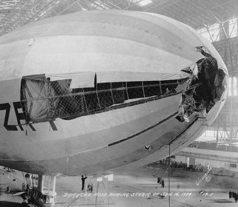 Damaged airship