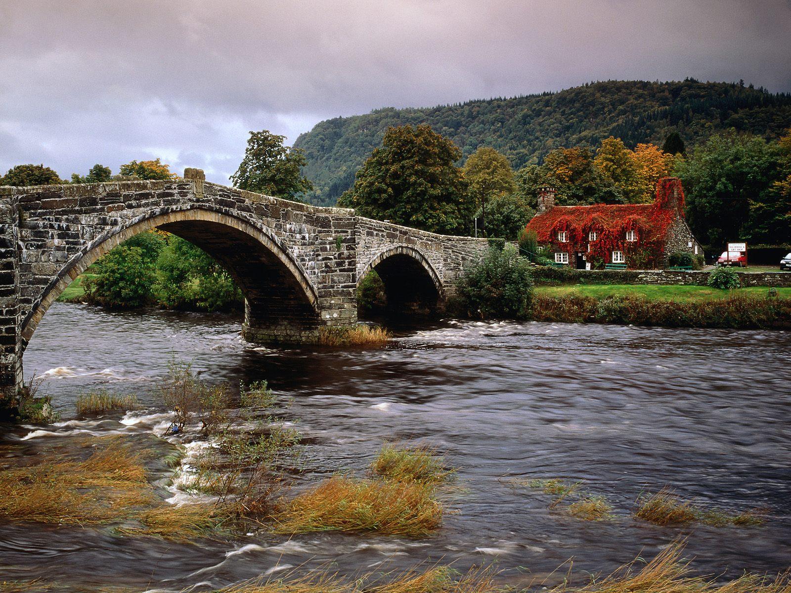 Llanrwst bridge conwy river wales united kingdom