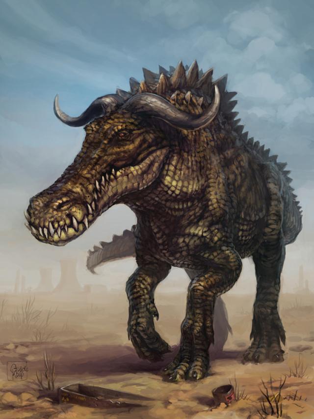 640x853 1366 bull croc 2d fantasy bull mutant croc crocodile beast creature picture image digital art