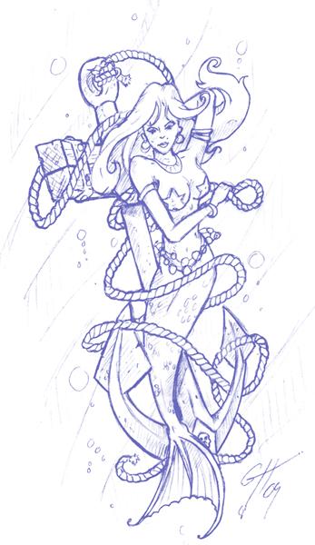 Mermaid tattoo sketch by the mac rat