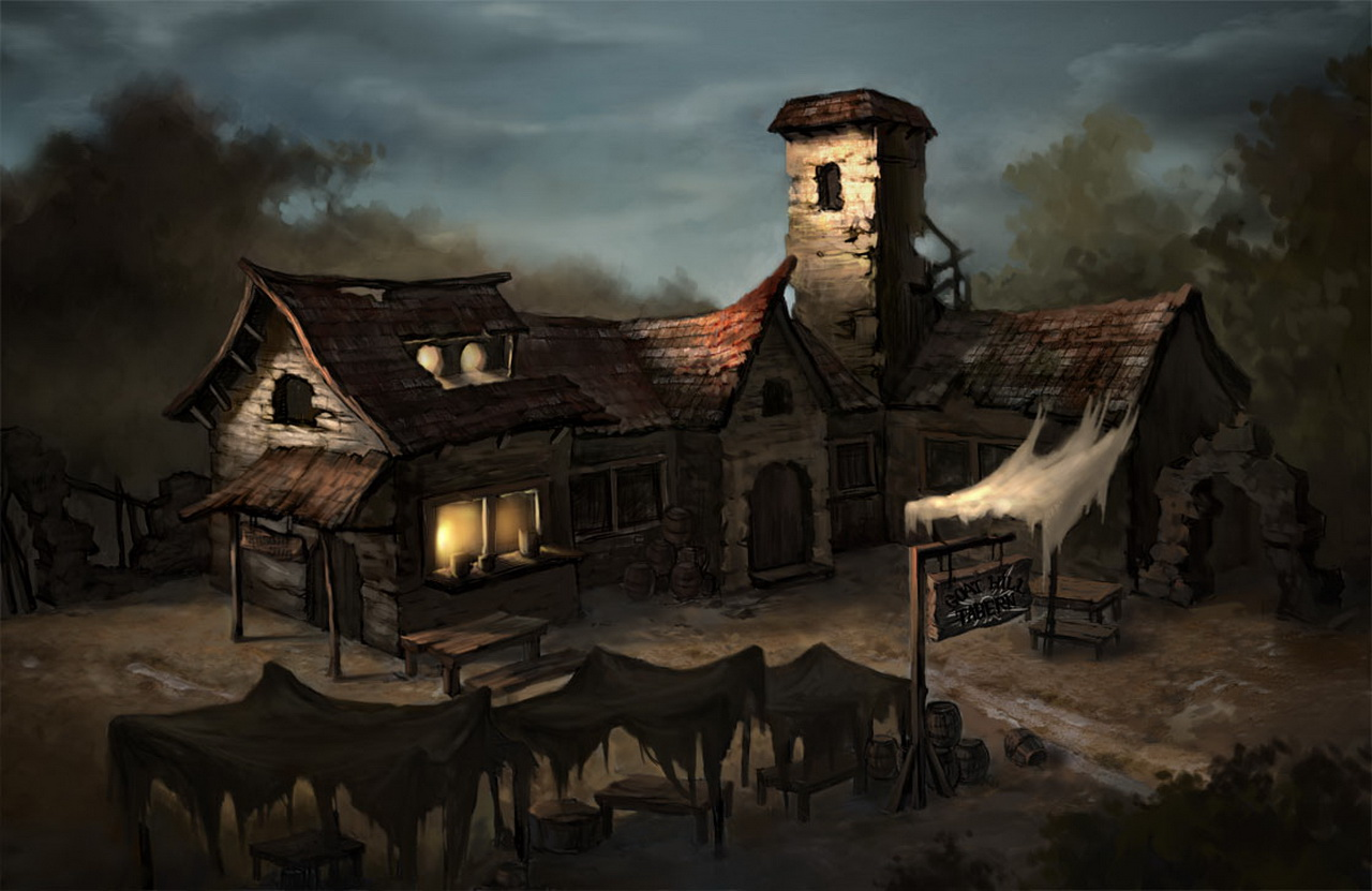 Dilapidated tavern