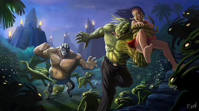 640x359 1424  luchador versus mayan devil 2d illustration fantasy picture image digital art