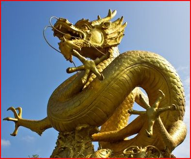 Gold dragon statue