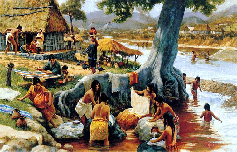 Aztec village life