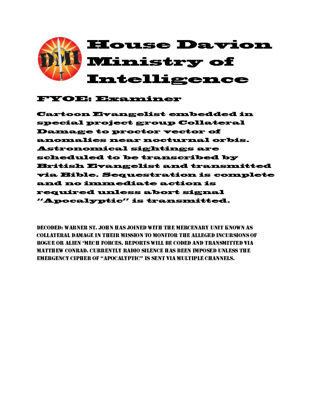 House davion ministry of intelligence