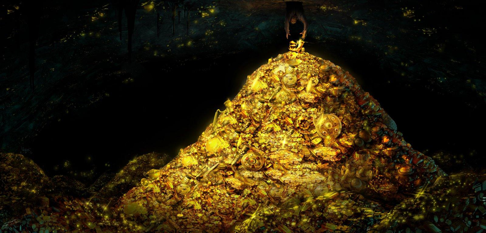 Treasure pile shot hugest wide