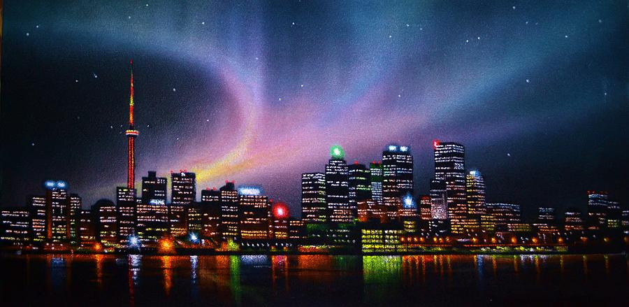 Aurora borealis over toronto skyline thomas kolendra