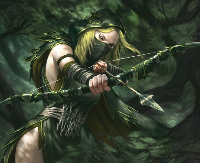 640x521 14005 shadow sentinel 2d fantasy warhammer elf archer girl woman picture image digital art