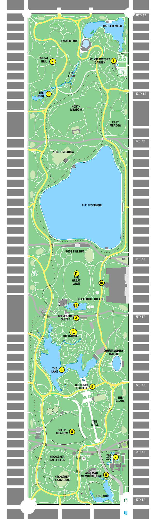 Central Park Map New York Central Park Map