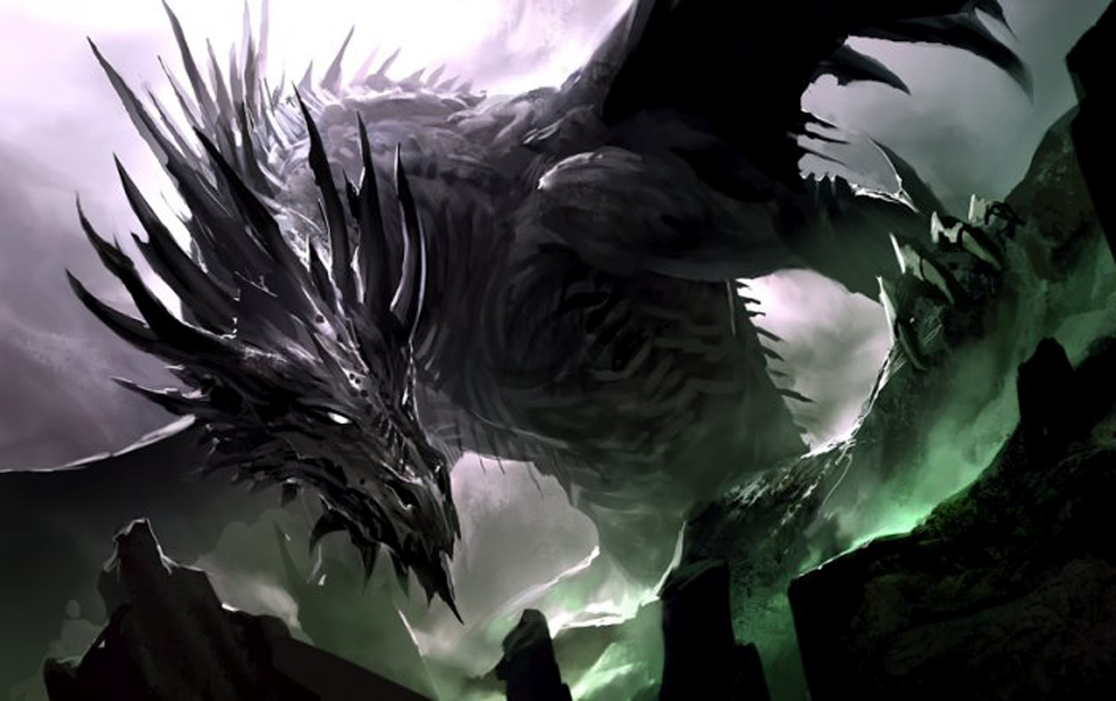 Black fire breathing dragon knight battle castle age heart game concept art 1 2 ii by kekai