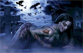 Fantasy tom wood zombie girl cemetary poster tr6208