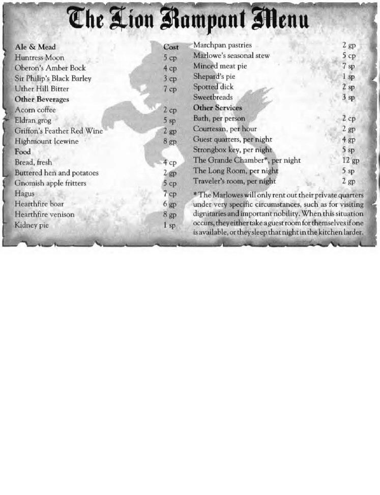 Lions rampart menu