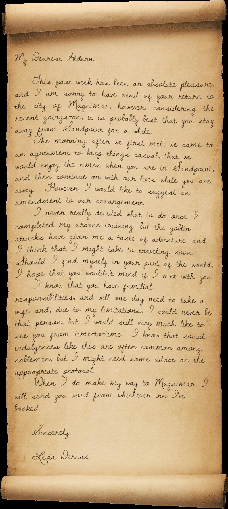 Letter to aldern