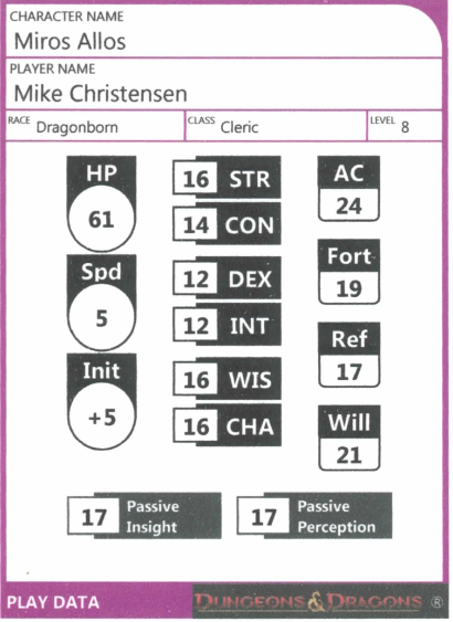 Mike player data card