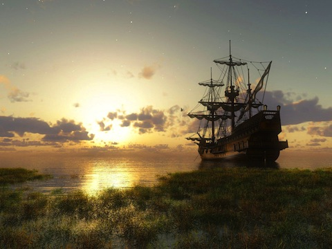 Old ship at sunset near swamp at the coast wallpaper