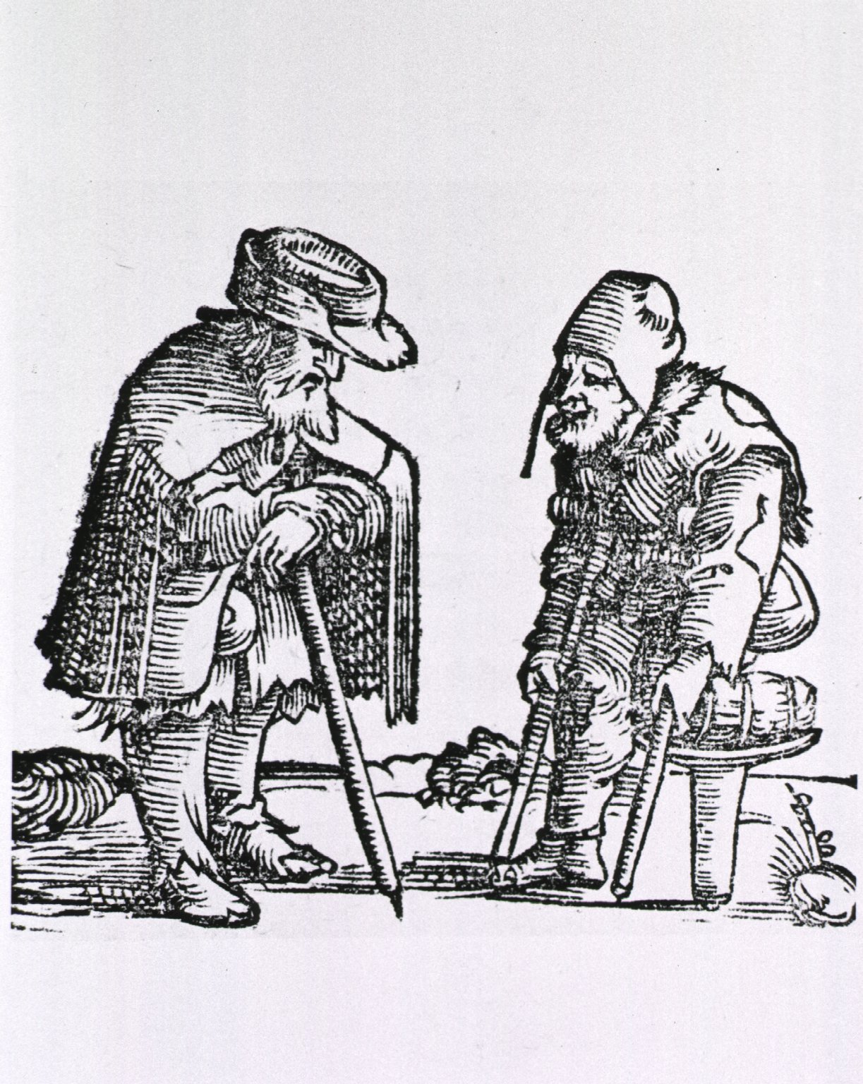 Old man with cane meets old man with one leg
