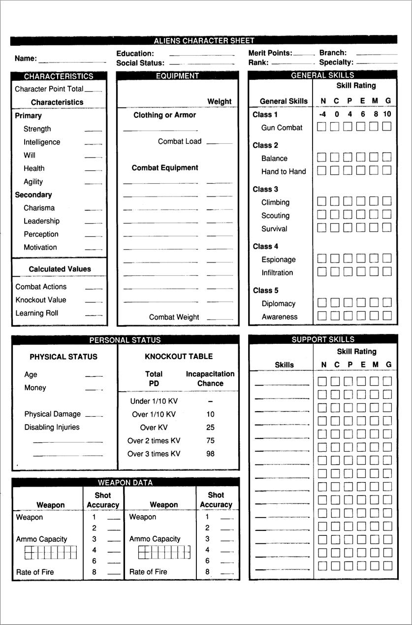 Aliens character sheet