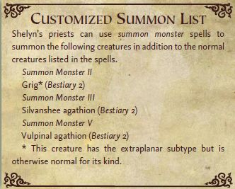 Shelyn custom summon list