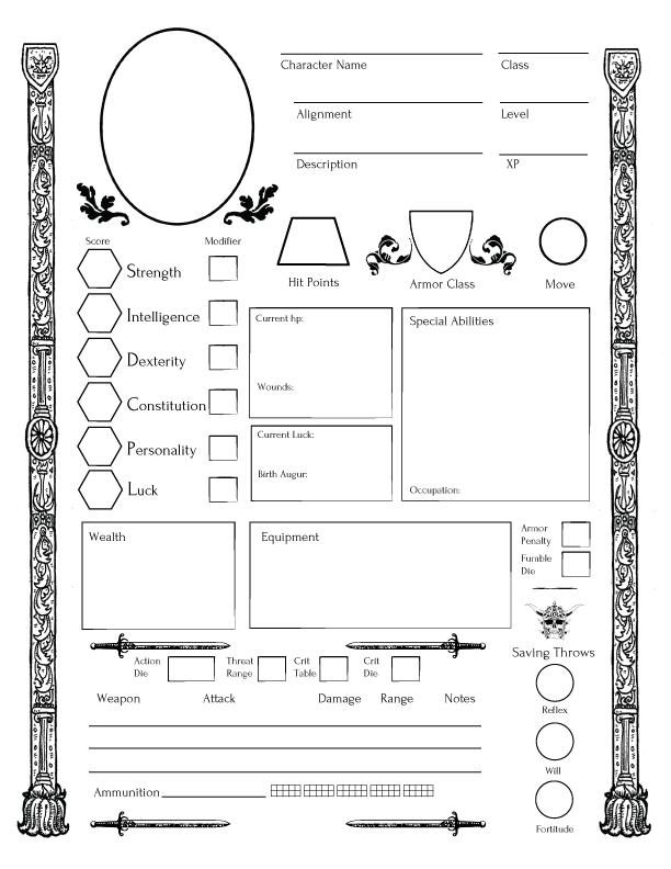 Dcc retro clone fantasy character sheet