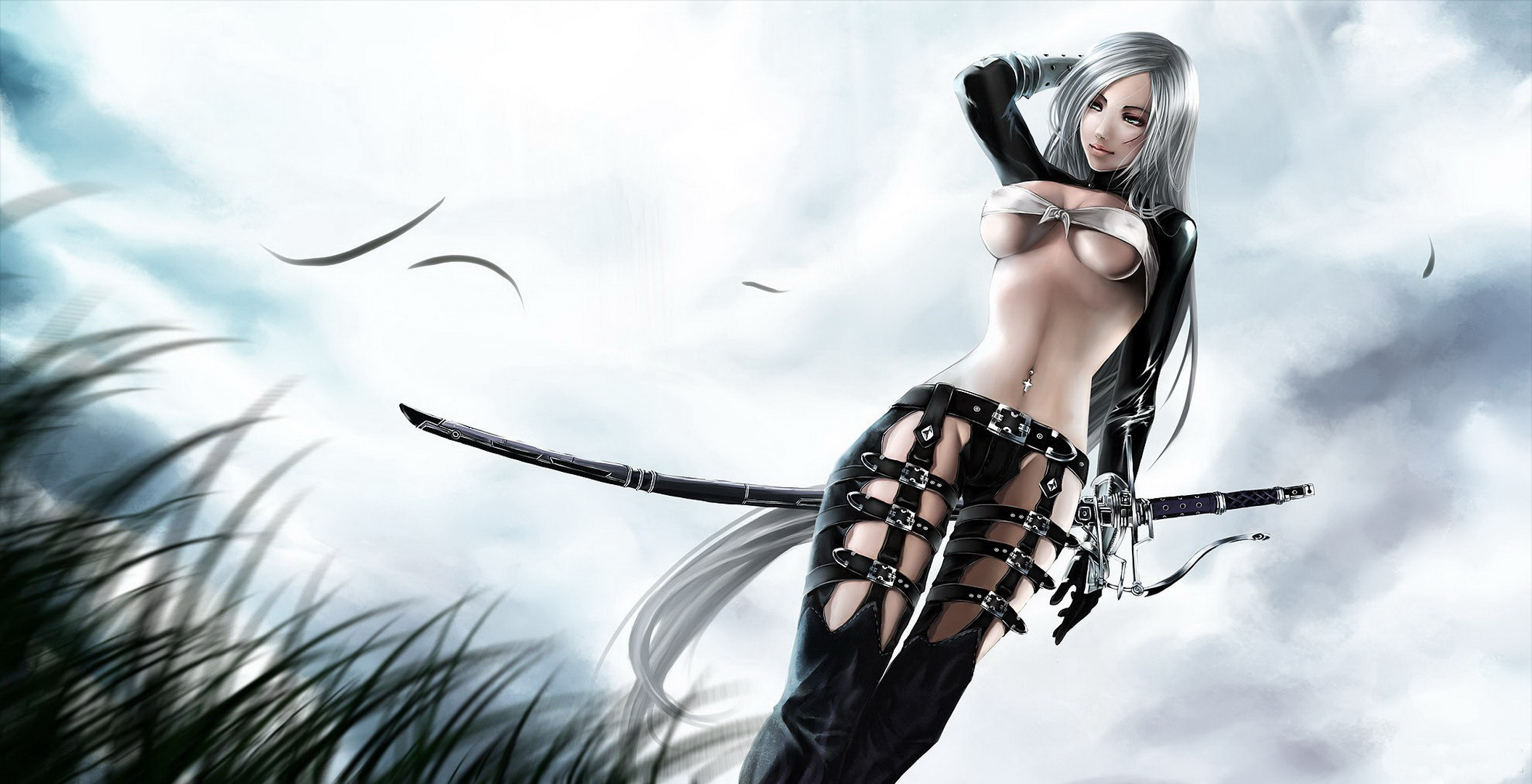 Konachan com 114402 jpeg artifacts sword underboob weapon white hair