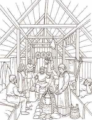 Longhouse interior sketch