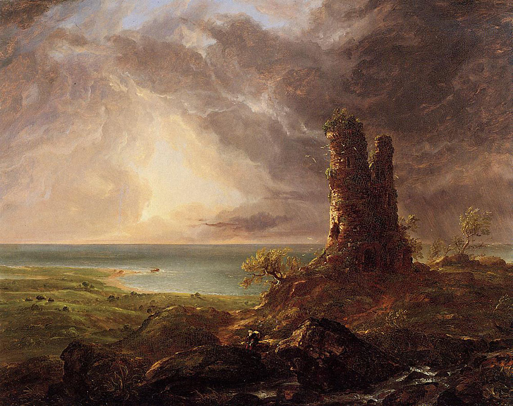 Cole thomas romantic landscape with ruined tower 1832 36